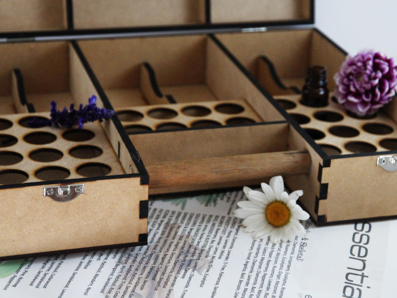aromatherapy wooden case and aroma chart